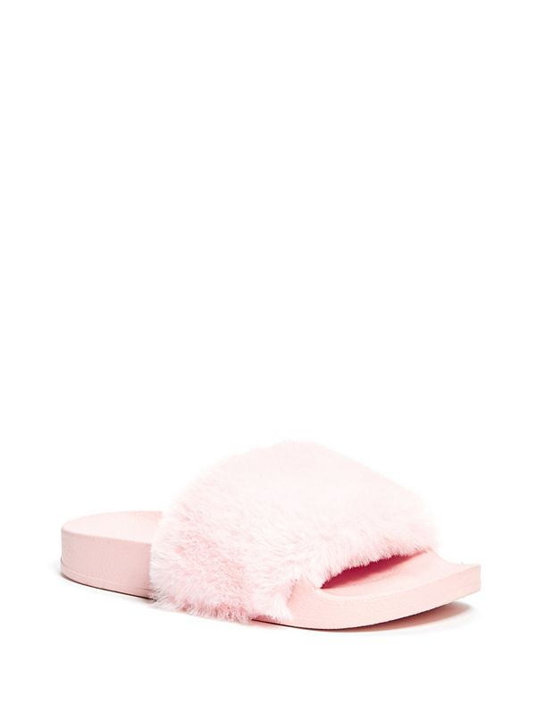 62b96fab91e6 Daniella Girl s Fuzzy Slide Sandals