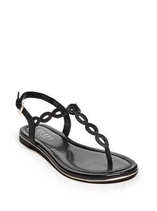 f66c8b9cc18 women Doherty Glitter T-Strap Sandals at Guess