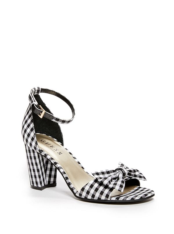 Dustie Gingham Bow Block Heels