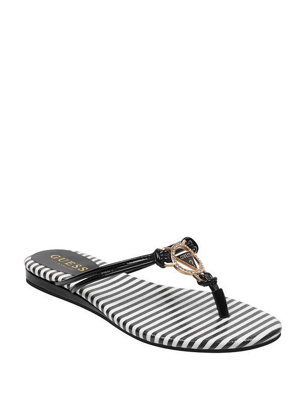 cc480a40095e0 Joinin Striped Logo Thong Sandals