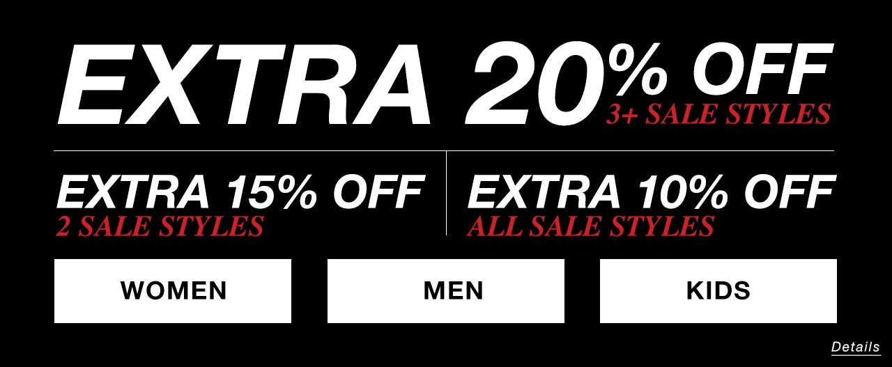 Buy 3 or more sale styles and get extra 20% off at checkout
