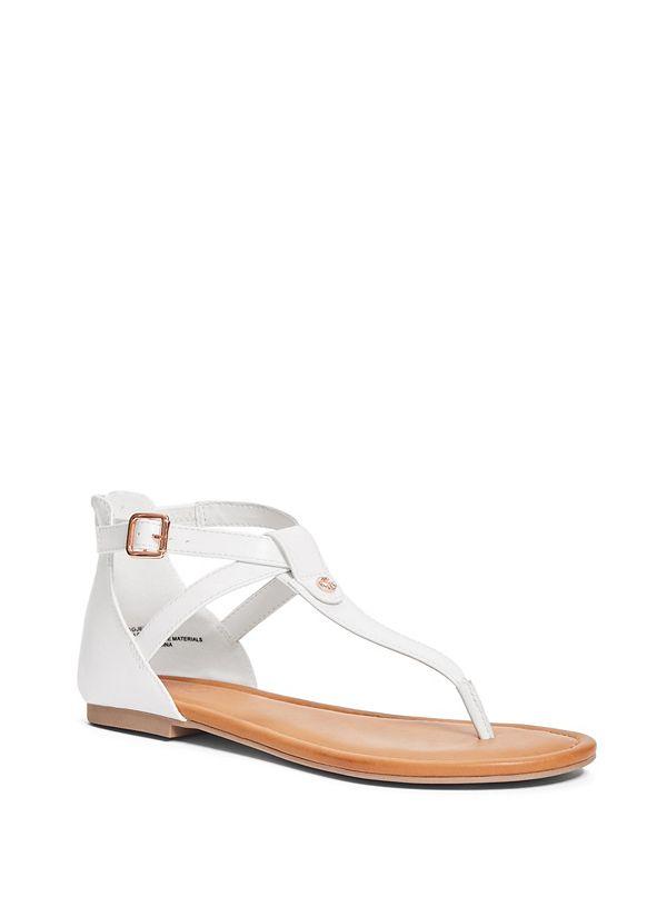 18c37bed3471 Jezzie Faux-Leather Logo Sandals