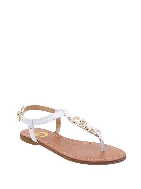 307186437e5d11 Lexann Rhinestone Logo Sandals