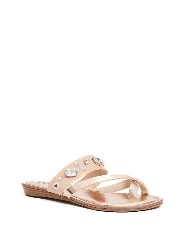0e07fd0eb781 Pardi Rhinestone Slide Sandals