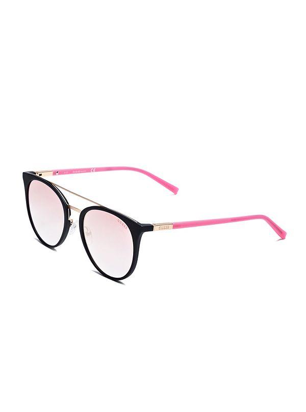 1e4bfc9a8 Eye Candy Round Top-Bar Sunglasses | GUESS.com