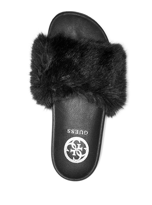 6d776340957 Buffie Faux-Fur Slide Sandals. GWBUFFIE-BLKLL-ALT3