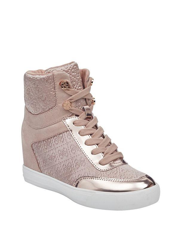 78fc00fd871 Daylana Logo High-Top Wedge Sneakers | GUESS.com