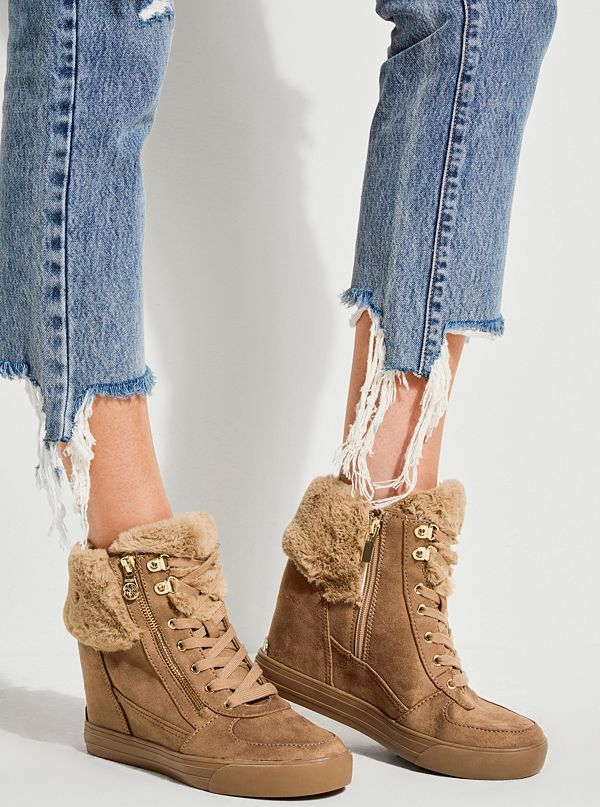 e59203952e6 Dustyn Faux-Fur Wedge Sneakers