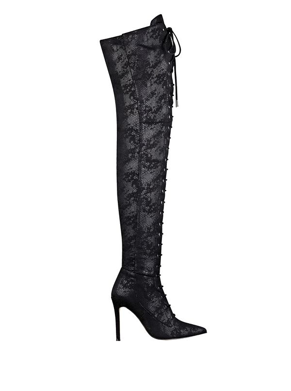 Nazzell Thigh-High Lace-Up Boots | GUESS.com