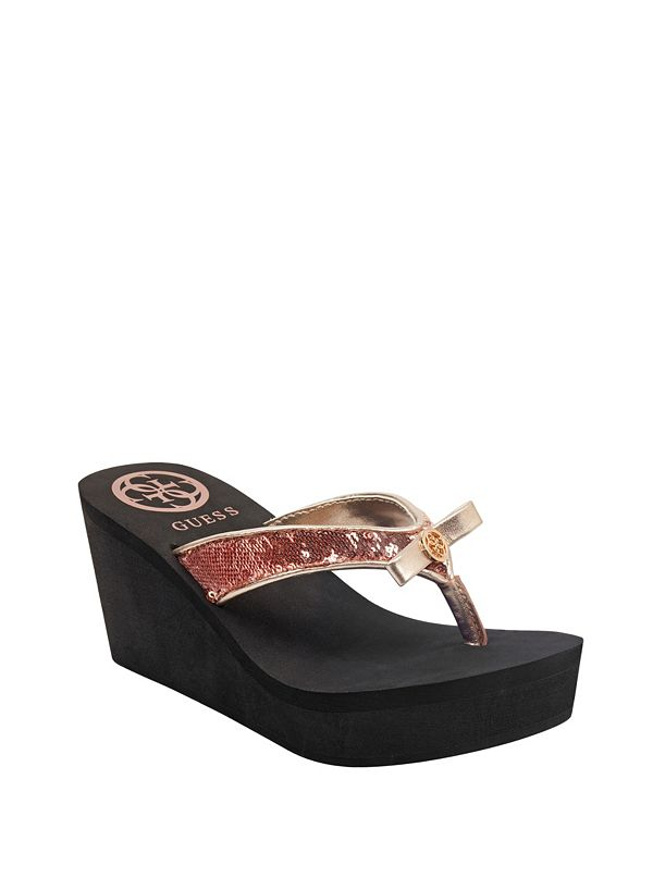 Santos Satin Bow Wedge Flip Flops by Guess
