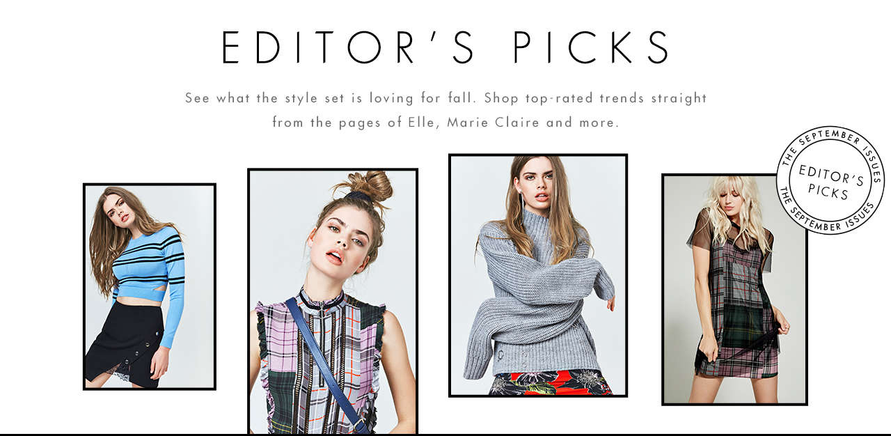 THE SEPTEMBER ISSUES: See what the style set is loving for fall. Shop top-rated trends straight from the pages of Elle, Marie Claire and more.