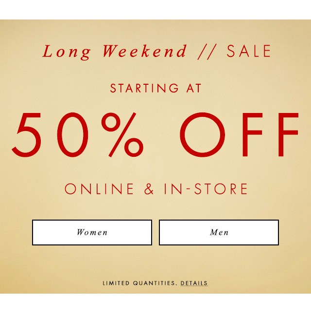 shop long weekend sale