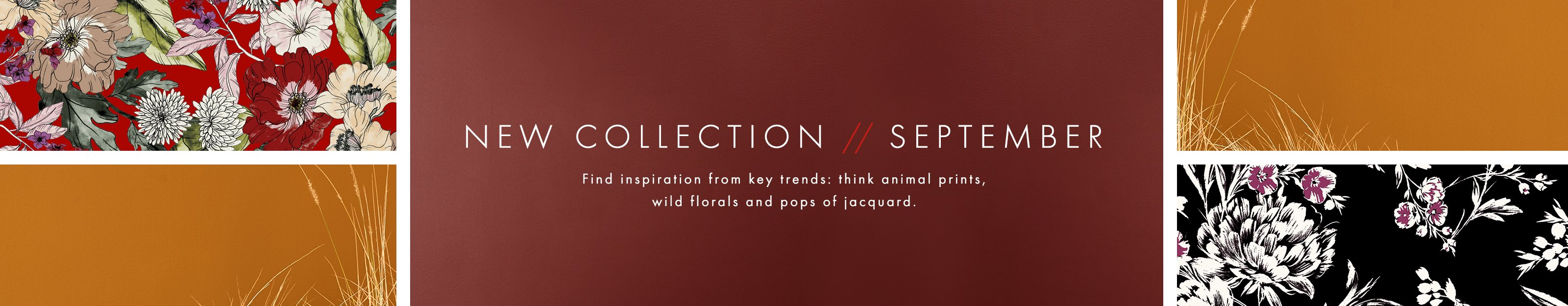 New Collection September Find inspiration from key trends: think animal prints, wild florals and pops of jacquard.