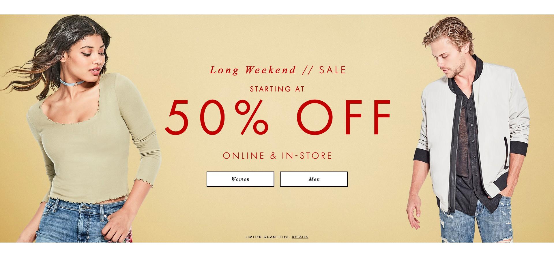 long weekend sale starting 50% off