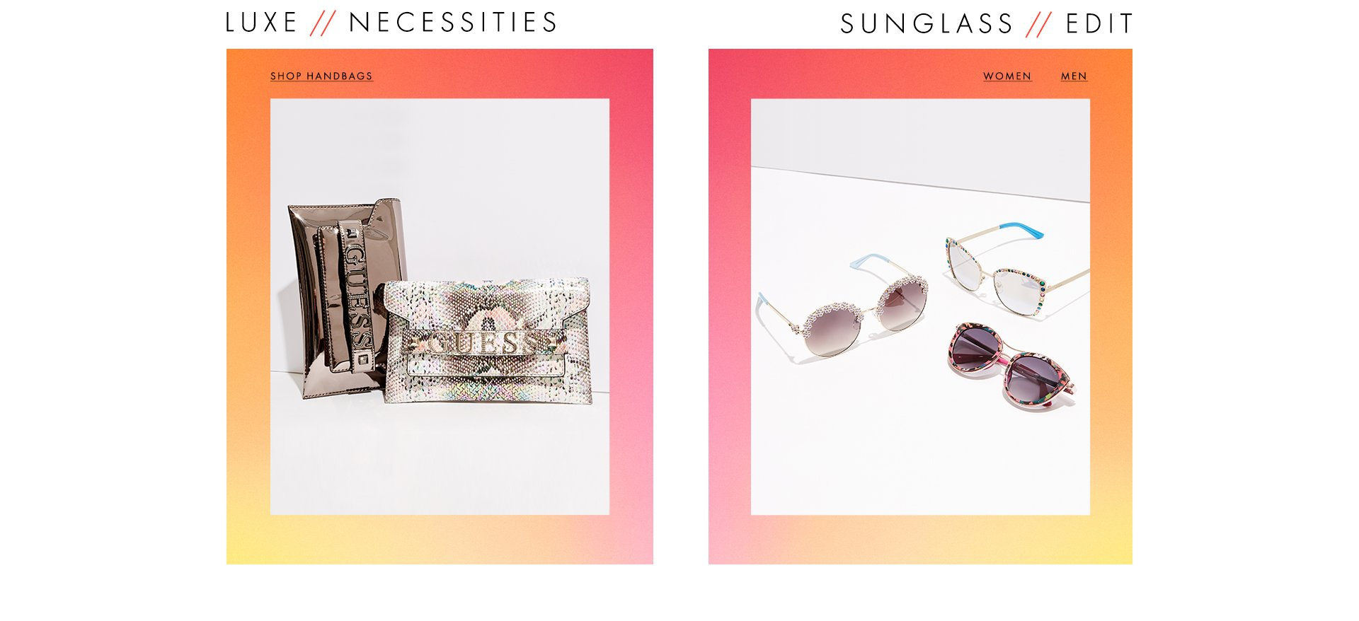 Handbags, wallets and sunglasses