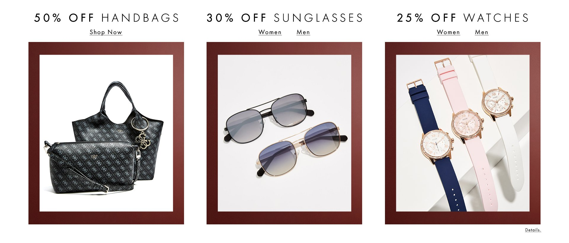 Shop Handbags, Sunglases and Watches