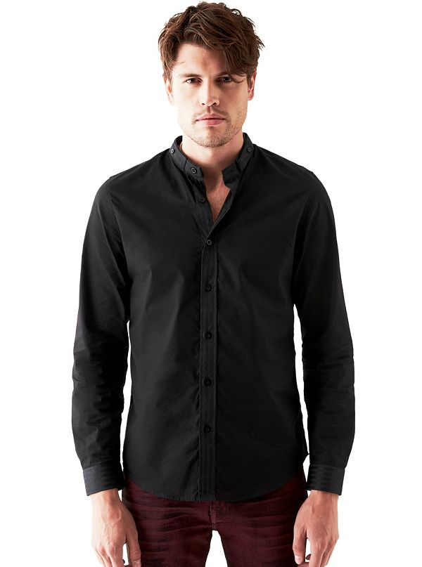 Long Sleeve Banded Collar Slim Fit Shirt
