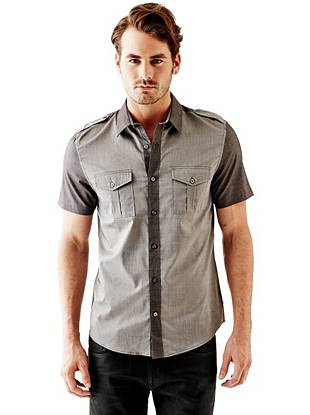 Short Sleeve Mixed Military Slim Fit Shirt