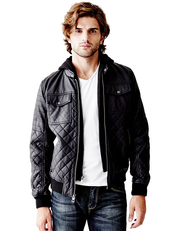 Guess leather jacket with hood