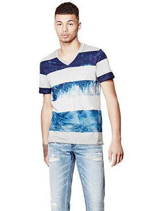 Short Sleeve Cloud Striped V Neck Tee by Guess