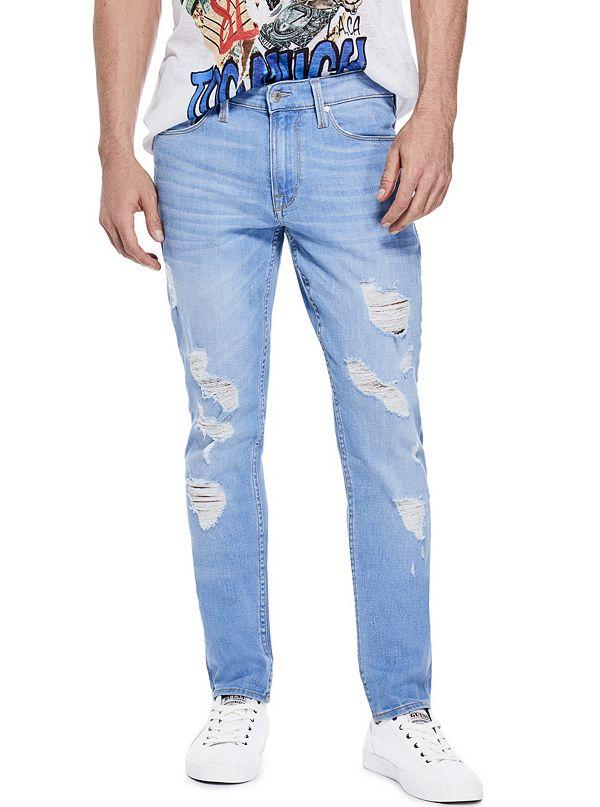 Hommes Adaptent Fin Jeans Skinny Bleu Éclat Original SfCEdq