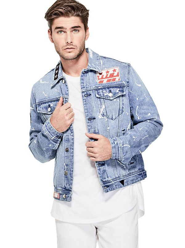 Snake Beaded Chain Oversized Denim Jacket by Guess