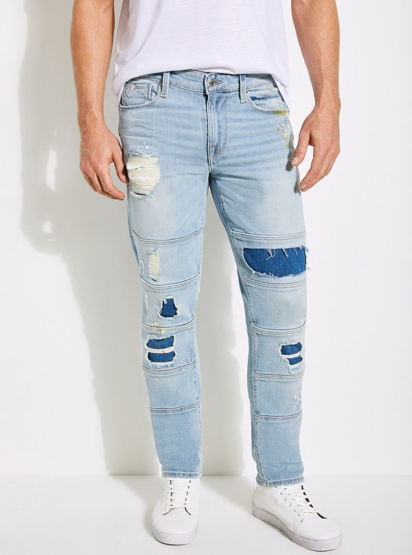 Paneled Slim Tapered Jeans
