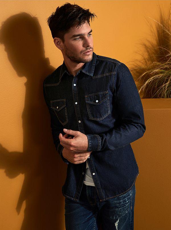 959e07de41 Denim Slim Western Shirt