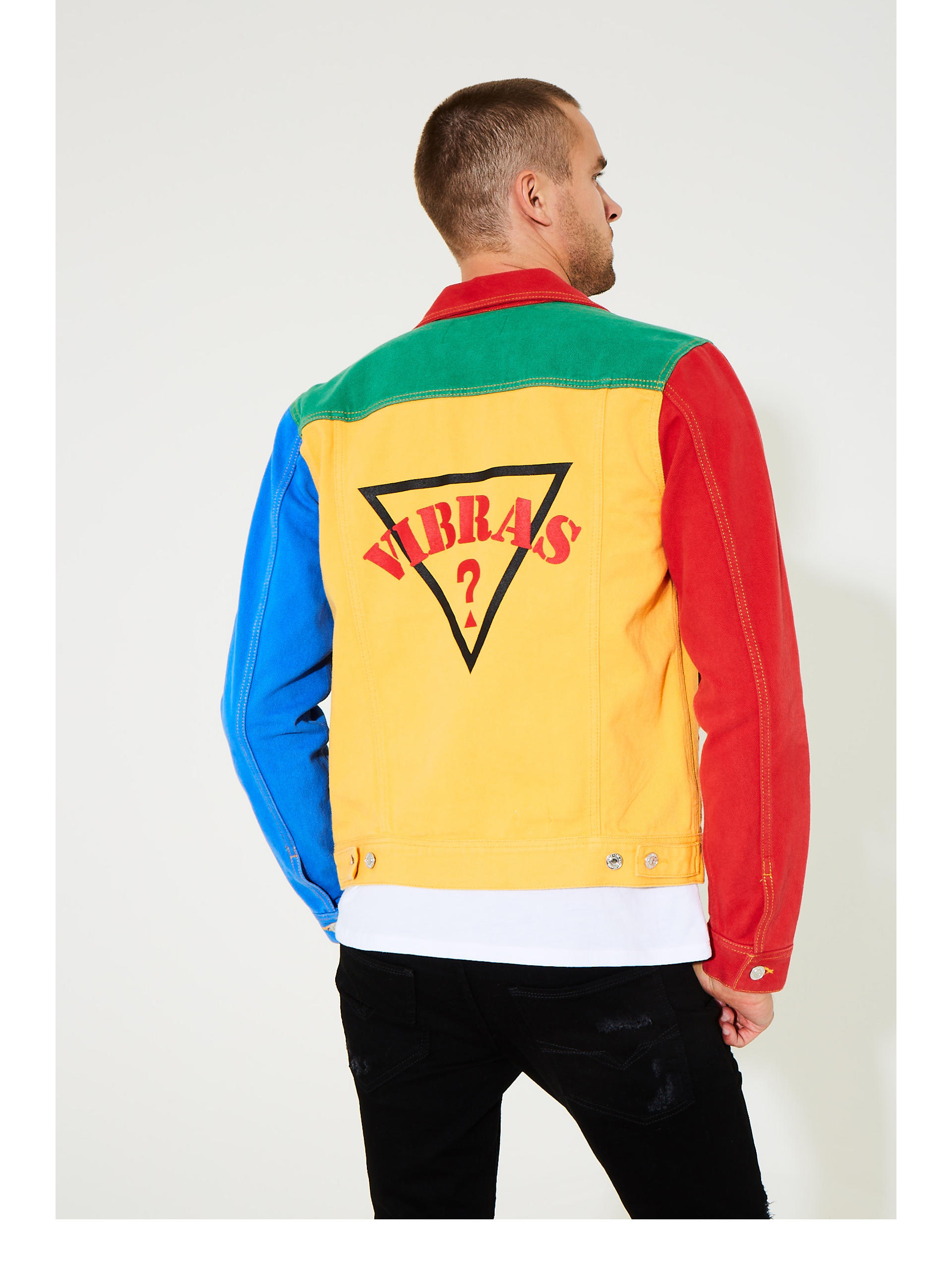 f910223fd1faa1 GUESS x J Balvin Color-Block Denim Jacket