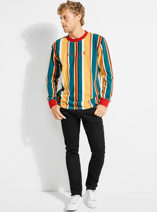 01ceb3769 GUESS Originals Oversized Sayer Striped Long-Sleeve Tee | GUESS.com