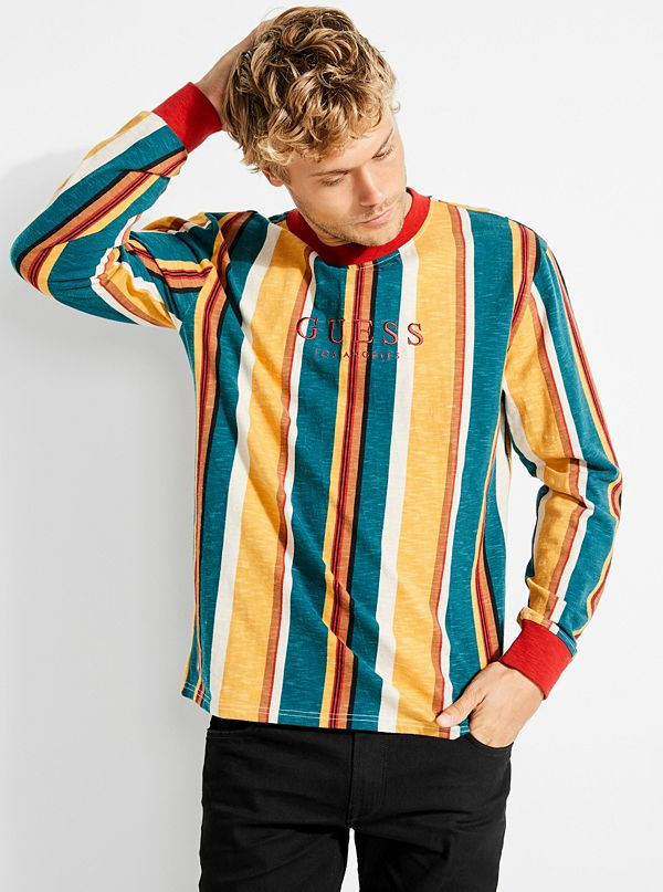 33041f23 GUESS Originals Oversized Sayer Striped Long-Sleeve Tee   GUESS.com