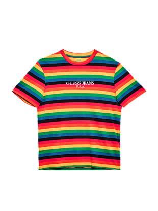 eb3d2374 Farmers Market Multicolor Stripe Logo Tee. Vintage Guess Jeans USA Striped  ...