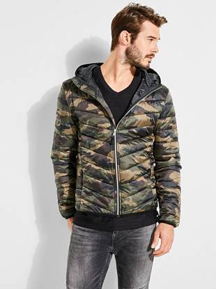 Camo Print Puffer Jacket by Guess