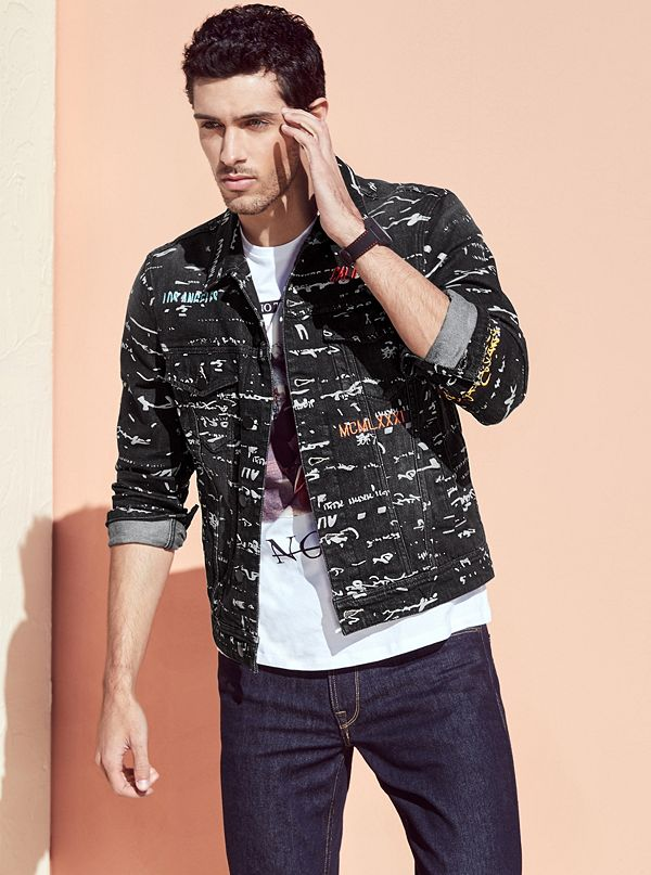 a33db29accb Dillon Printed Denim Jacket