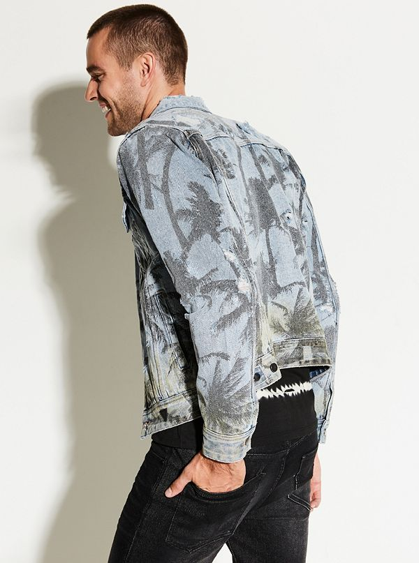 0d6cebcc0a1 Rex Palm-Print Denim Jacket