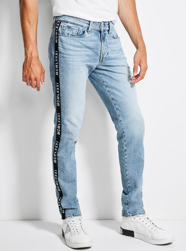 online store 303d5 e7b75 Tape-Trim Slim Tapered Jeans | GUESS.com