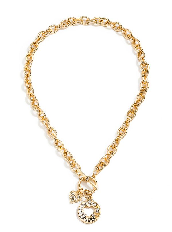Gold Tone Cutout Heart Charm Necklace