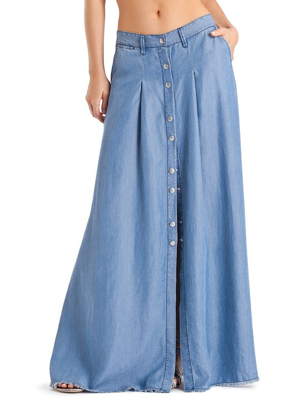 chambray denim maxi skirt guess by marciano
