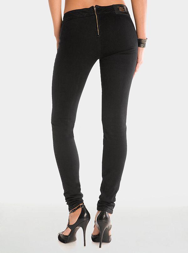 357e53e22d90b4 Black Zip Denim Leggings | GUESS by Marciano