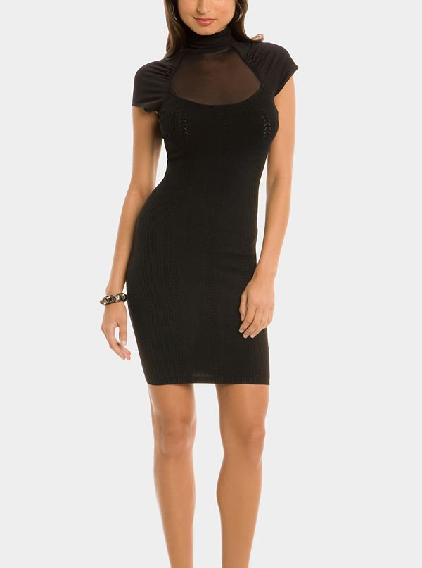 b0bda8a1e7d Mesh Top Tube Sweater Dress