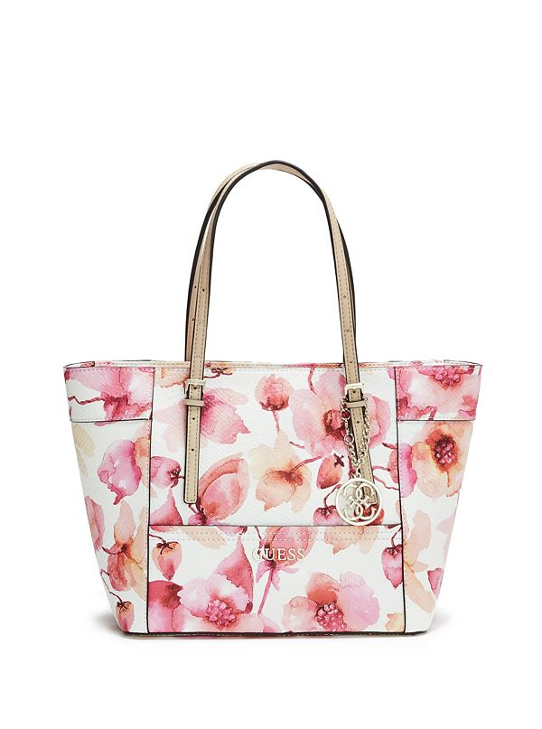 delaney floral print small classic tote guess