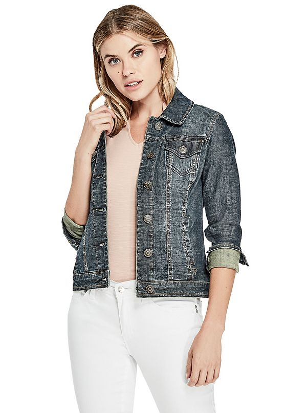 Alisana Denim Jacket in Dark Wash | GuessFactory.com