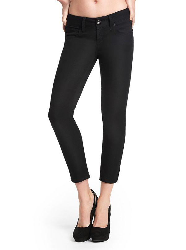 Leela Denim Capri Jeggings - Black | GuessFactory.com