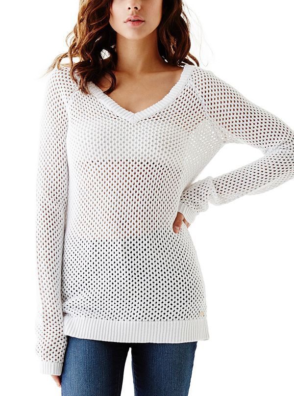 Valencia Mesh Knit Sweater | GuessFactory.com