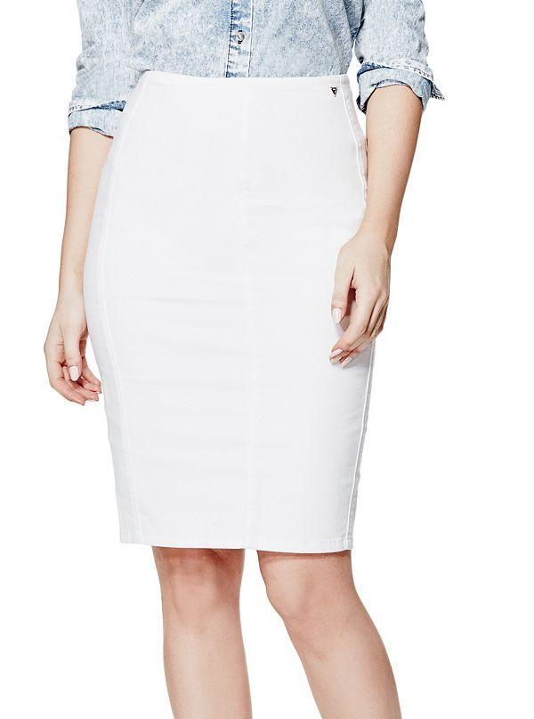 marcee white denim pencil skirt guessfactory