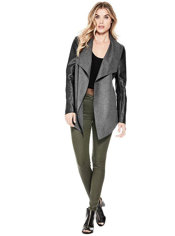 trendy front olive jacket blazer drapes lapel roses open tobi draped product
