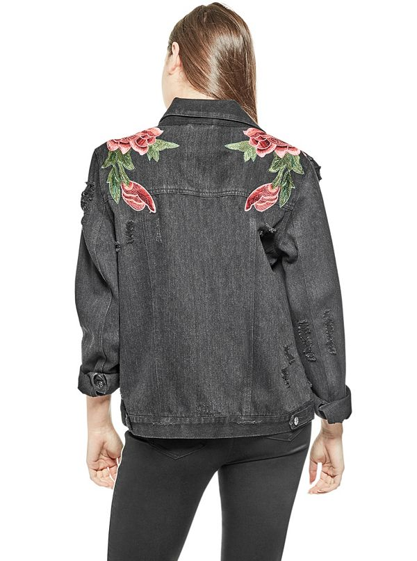 Isabella embroidered denim jacket guess factory canada