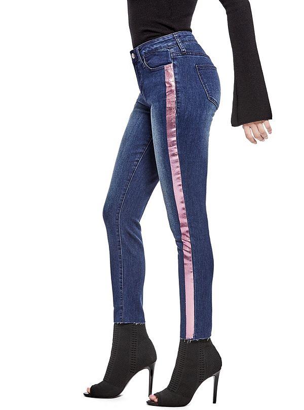 24f926685018b Amira Metallic-Stripe Skinny Jeans