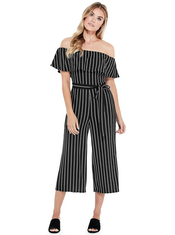 3efa487bba72 Q84D00R63N0. Sale · Stacey Striped Ruffle Jumpsuit