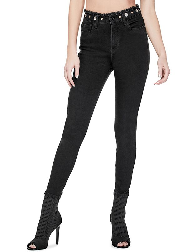 Aria High-Rise Grommet Skinny Jeans